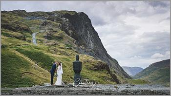 Landscape wedding photograph taken on the top of Kirkstone Pass in the heart of the English Lake District.