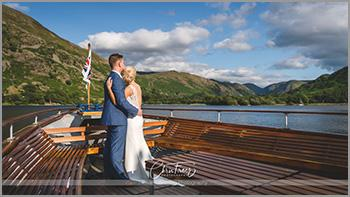 Ullswater Steamer cruise for this lovely couple after their wedding at Inn on the Lake in the Lake District.